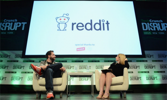 Co-Founder and Executive Chair of Reddit, and Partner at Y Combinator, Alexis Ohanian (L) and co-editor at TechCrunch, Alexia Tsotsis appear onstage during TechCrunch Disrupt NY 2015 May 6, 2015 in New York City. (Photo by Noam Galai/Getty Images for TechCrunch)