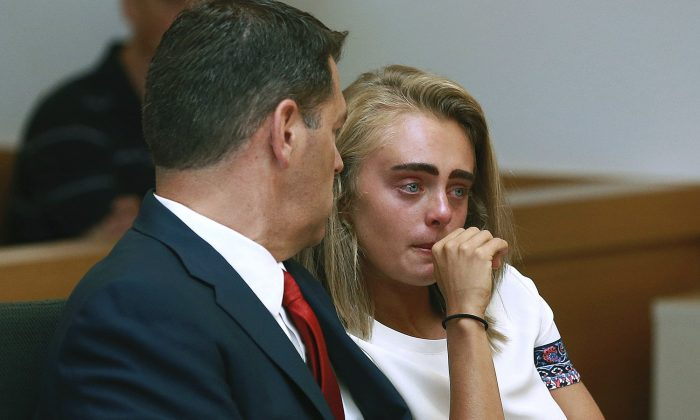 Michelle Carter awaits her sentencing in a courtroom in Taunton, Mass., on Aug. 3, 2017, for involuntary manslaughter for encouraging Conrad Roy III to kill himself in July 2014. (Matt West/The Boston Herald via AP)