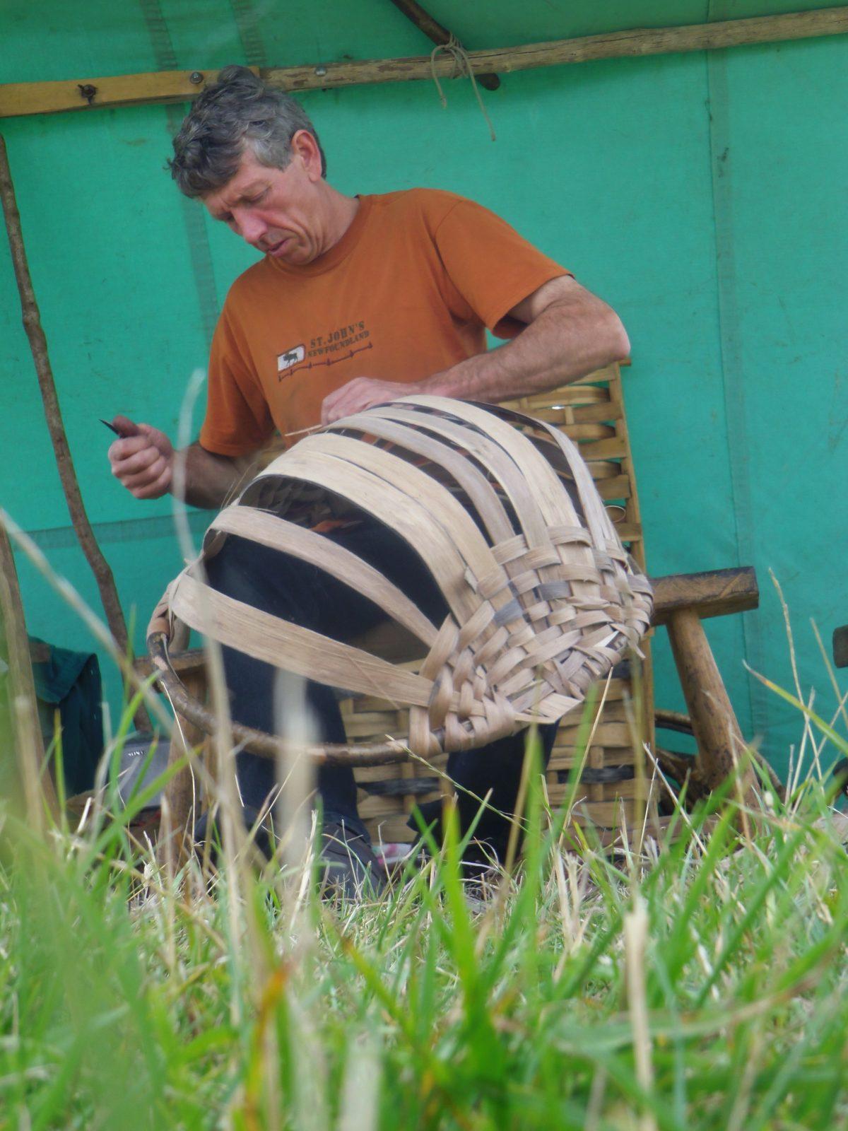 Oak swill basket made by a man