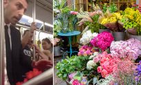 Stranger Buys All Roses from Flower Lady on Subway, Insists She Gifts Them to Passengers