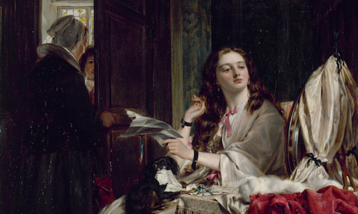 """By the Victorian era, Valentine's Day was a notable holiday, as this painting of a young lady with a love letter shows. """"The Morning of St Valentine,"""" 1865, John Callcott Horsley. Walker Art Gallery. (Public Domain)"""
