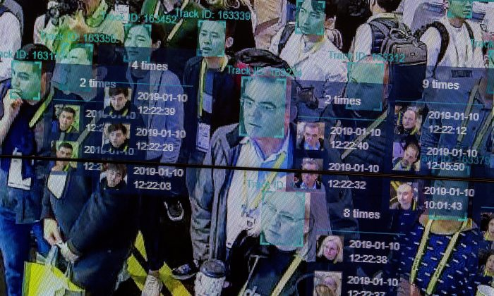 A live demonstration uses artificial intelligence and facial recognition in dense crowd spatial-temporal technology at the Horizon Robotics exhibit at the Las Vegas Convention Center during CES 2019 in Las Vegas on Jan. 10, 2019. (David McNew/AFP/Getty Images)