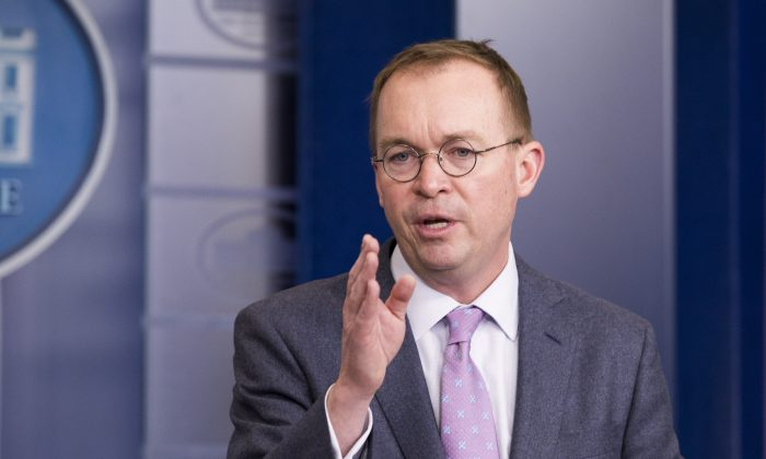 Mick Mulvaney, Director of the Office of Management and Budget at a White House press briefing in Washington on March 22, 2018. (Samira Bouaou/The Epoch Times)