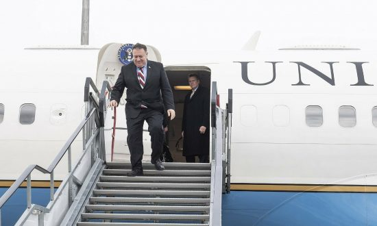U.S. Secretary of State Mike Pompeo arrives at Liszt Ferenc International Airport in Budapest on Feb. 11, 2019. Pompeo is on an official visit to Hungary. (Marton Kovacs/KKM/MTI via AP)