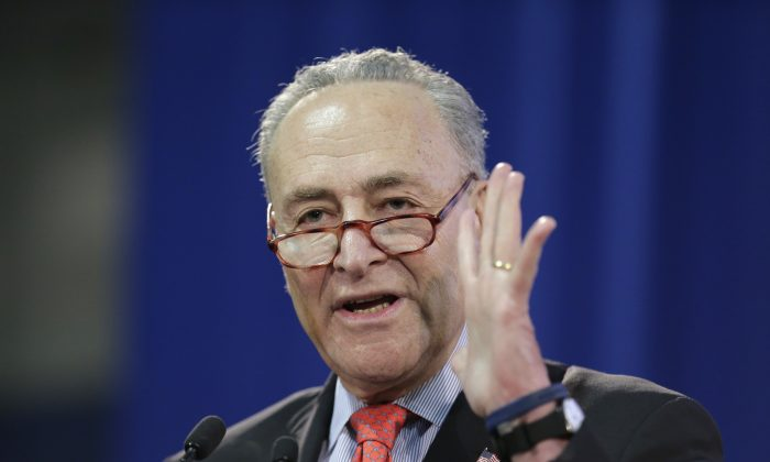 Senator Chuck Schumer speaks during an inauguration ceremony for the new Attorney General of New York, Letitia James, in New York on Jan. 6, 2019. The Senate's top Democrat is introducing legislation to sanction traffickers who export fentanyl into the United States. Schumer announced the Fentanyl Sanctions Act on Feb. 10 in New York. (Seth Wenig/AP)