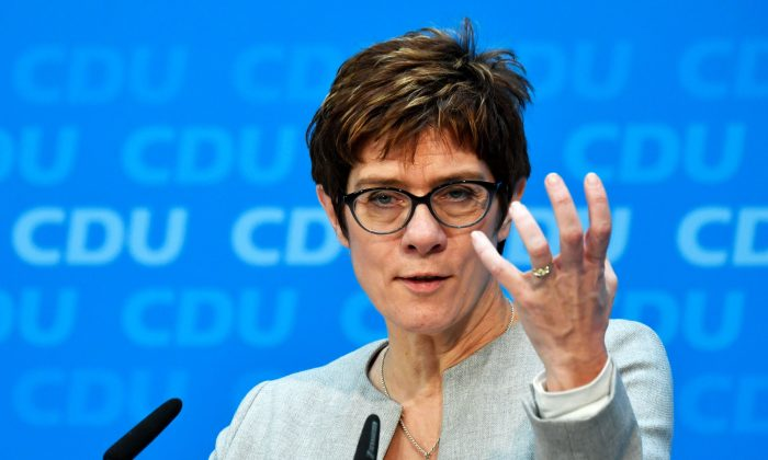 CDU leader Annegret Kramp-Karrenbauer addresses a press conference after a meeting with the Christian Democratics Union (CDU) leader (unseen) on January 29, 2019 in Berlin about the agenda and priorities of their parties. (John Macdougall/AFP/Getty Images)