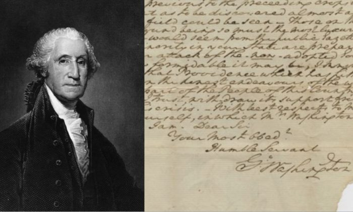L - An engraving by C. Burt featuring George Washington, the 1st President of the United States. R - a fragment of a rare letter written by George Washington that has come for auction, according to The Raab Collection, a dealer in historical documents. (Hulton Archive/Getty Images; The Raab Collection)