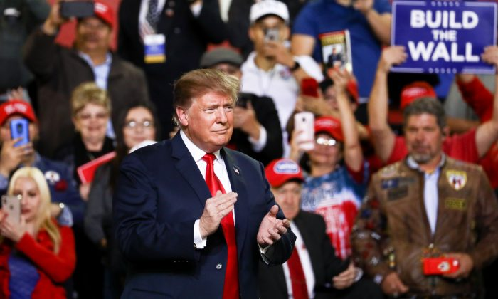 President Donald Trump at a Make America Great Again rally in El Paso, Texas, on Feb. 11, 2019. (Charlotte Cuthbertson/The Epoch Times)