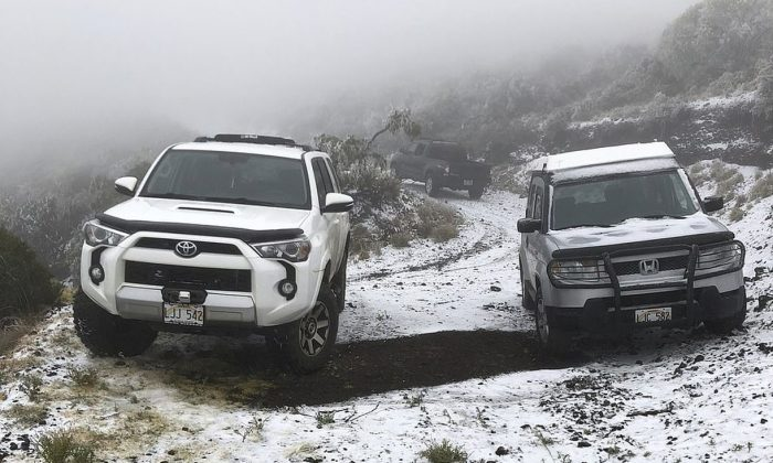 Officials said the coating at 6,200 feet in Maui might be the lowest-elevation snowfall in Hawaii. (The Associated Press)