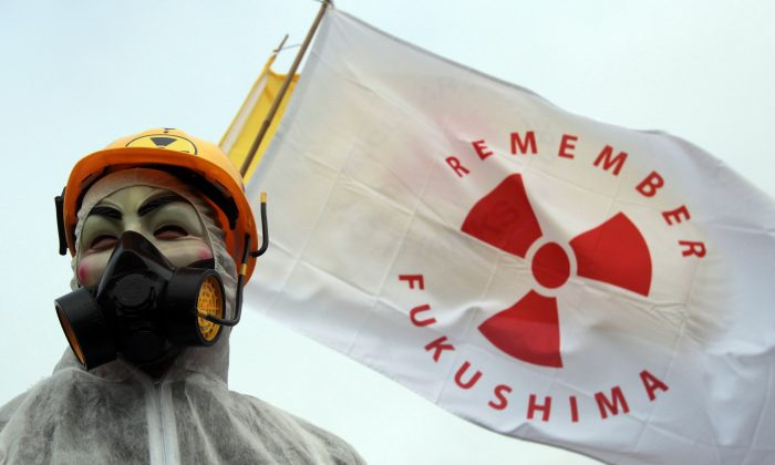A masked protester stands in front of flags at the gates to the Hinkley Point nuclear power station to mark the first anniversary of the Fukushima disaster in Japan on March 10, 2012 near Bridgwater, England. Matt Cardy/Getty Images