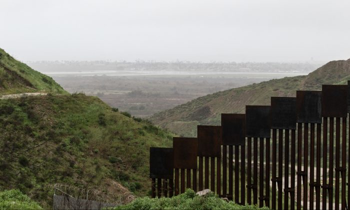 A section of the reinforced US-Mexico border fence is seen from Tijuana, Baja California state, Mexico, on Feb. 14, 2019. (Guillermo Arias/AFP/Getty Images)