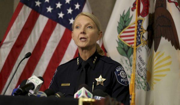 Aurora Police Chief Kristen Ziman speaks at a news conference y