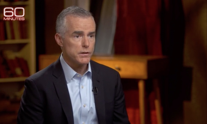 "Former FBI Deputy Director Andrew McCabe, in an interview with CBS' ""60 Minutes."" (Screenshot/CBS)"