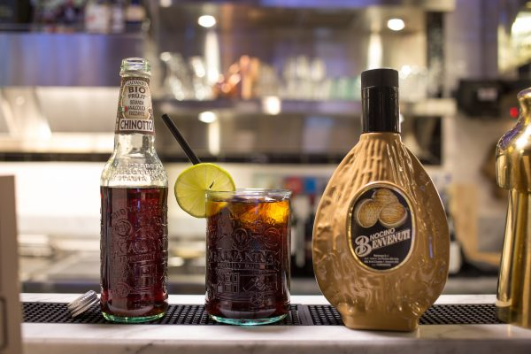 Nocino and chinotto cocktail