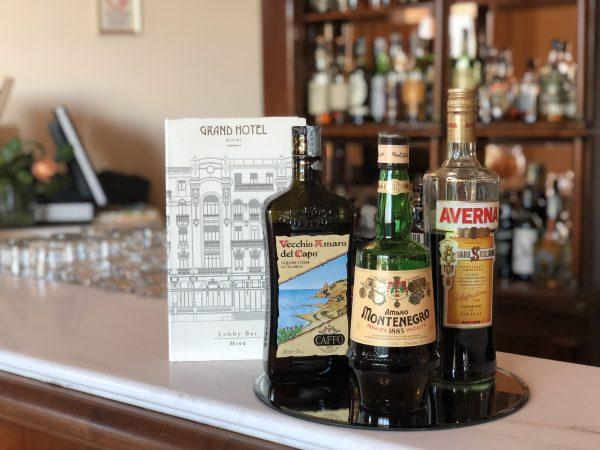 Bottles of three types of Italian amari