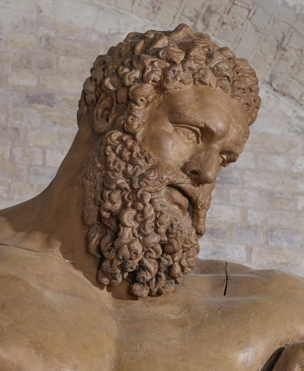 plaster cast head of classical statute Farnese Hercules