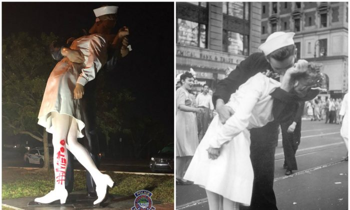 Iconic WWII Sailor Kissing Nurse Statue Spray Painted With #MeToo: Police