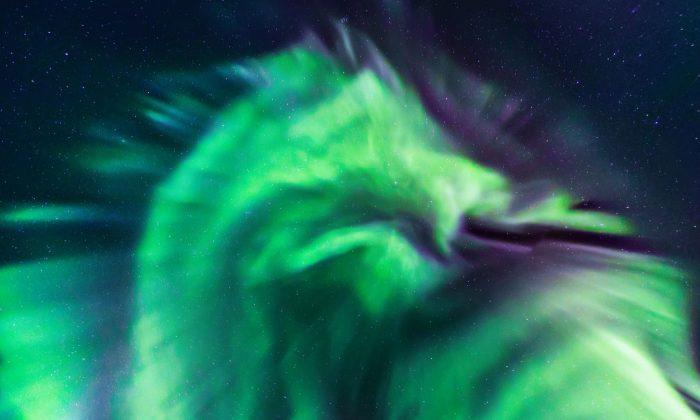 Dragon-shaped aurora appeared in the sky over Iceland in February 2019. (Jingyi Zhang & Wang Zheng/NASA)