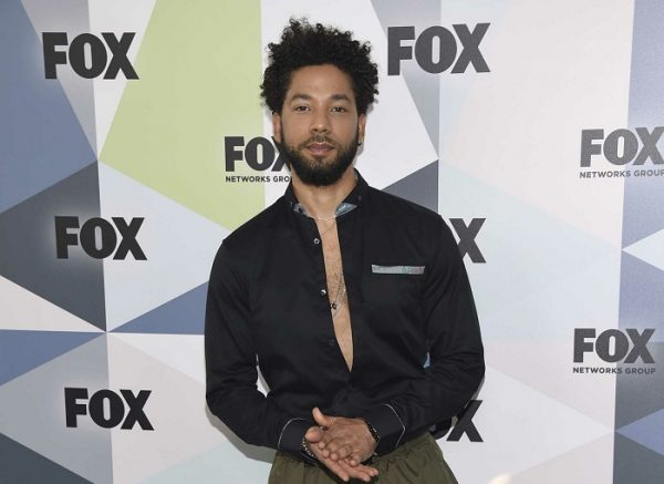 """Jussie Smollett, a cast member in the TV series """"Empire,"""" attends the Fox Networks Group 2018 programming presentation"""
