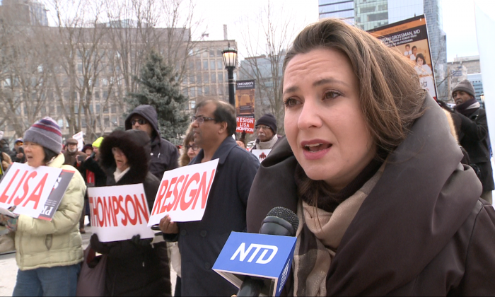 Tanya Granic Allen, president of Parents as First Educators, speaks at a protest at Queens Park in Toronto, Canada on Feb. 20, 2019. (NTD Television)