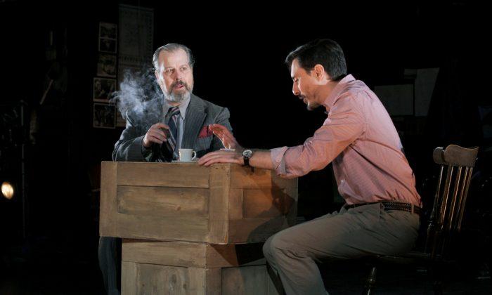 "Orson Welles (George Demas) wants video producer Frank Beacham (Stephen Pilkington) to help him film ""King Lear."" (John Painz)"