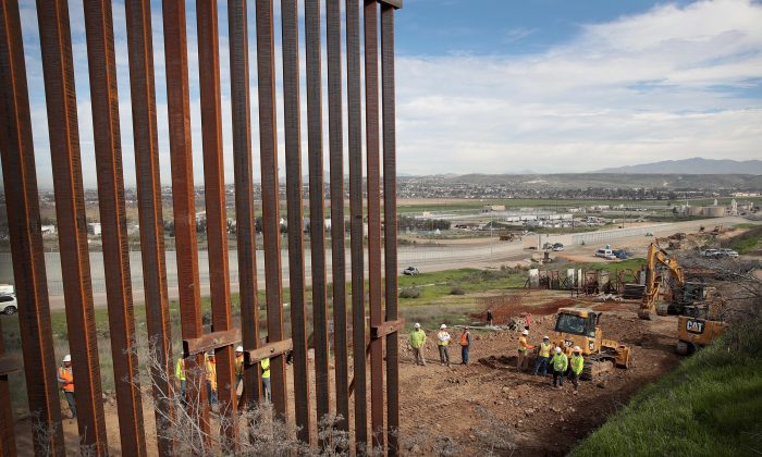 A section of border wall is constructed on the U.S. side of the border in Tijuana, Mexico on Jan. 28, 2019. (Scott Olson/Getty Images)