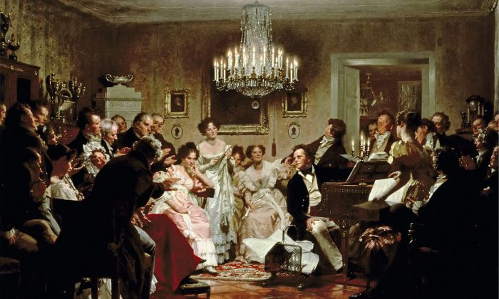 """Unsurprisingly, composing an ending to Schubert's """"Unfinished Symphony"""" with artificial intelligence  brings a soullessness to his work.  """"Schubertiade,"""" a 1897 painting of Franz Schubert performing by Julius Schmid,1897. (Public Domain)"""