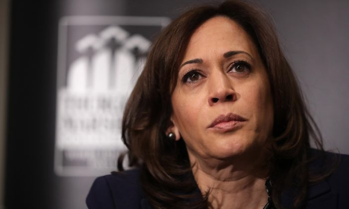 Democratic presidential candidate Sen. Kamala Harris (D-Calif.) participates in a interview and question-and-answer session at the JW Marriott February 07, 2019 in Washington, DC. (Chip Somodevilla/Getty Images)