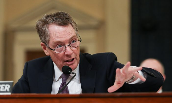 Ambassador Robert Lighthizer, U.S. Trade Representative, testifies at the House Ways and Means Committee hearing on U.S.-China Trade in Washington on Feb. 27, 2019. (Jennifer Zeng/The Epoch Times)