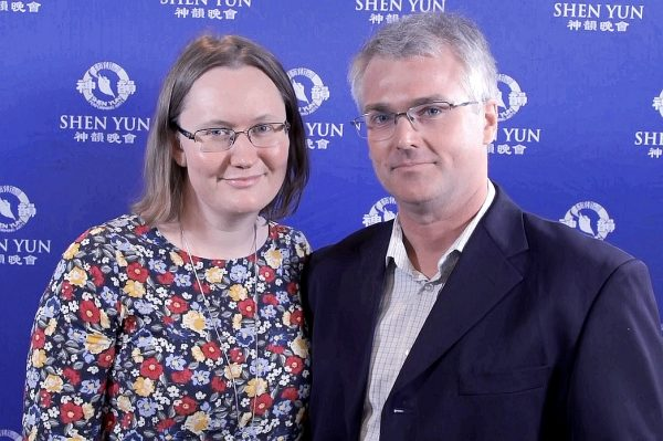 Watercolour artist Carolyn Clarke (L) and IT company director Richard Clarke (R) saw Shen Yun at Brisbane's Queensland Performing Arts Centre, on Feb. 27, 2019. (Nelson Huang/NTD Television)