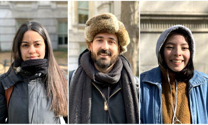 Chiara Deiana, (C) Nathaniel Brown, (R) Dorian Campos in New York on Feb. 25, 2019.  (Stuart Liess/The Epoch Times)