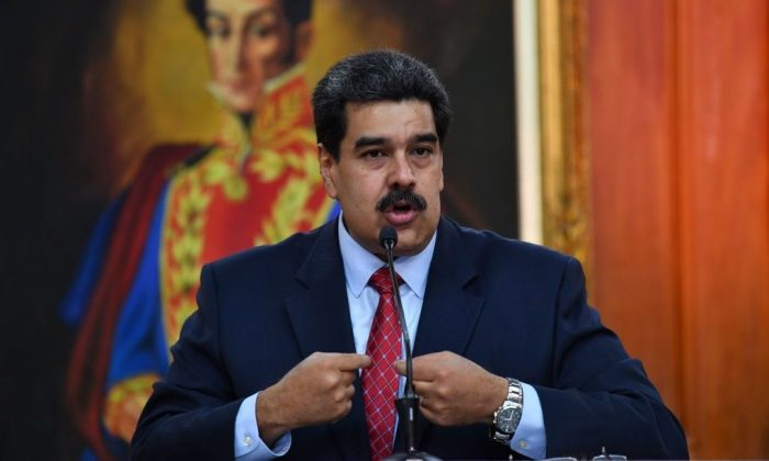 Venezuelan President Nicolas Maduro offers a press conference in Caracas, on Jan. 25, 2019. (YURI CORTEZ/AFP/Getty Images)