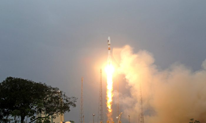 The first two satellites of Europe's Galileo navigation system are launched at the Guiana Space Center in Sinnamary, French Guiana, on Oct. 21, 2011. (Benoit Tessier/File Photo/Reuters)