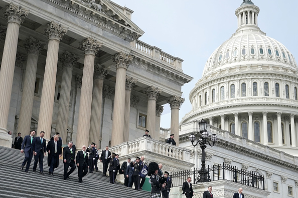 (L-R) U.S. Speaker of the House Rep. Paul Ryan (R-WI), Irish Taoiseach Leo Varadkar , President Donald Trump, U.S. Vice President Mike Pence, and U.S. Rep. Peter King (R-NY) walk down the House steps at the Capitol after the Friends of Ireland luncheon on Capitol Hill in Washington, on March 15, 2018.  (Photo by Alex Wong/Getty Images)