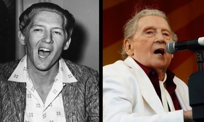 Left: The 'Killer', rock 'n' roll legend, singer and pianist Jerry Lee Lewis in London, on June 10, 1958. Right: Lewis performs at the New Orleans Jazz & Heritage Festival in New Orleans, on May 2, 2015. (Evening Standard/Getty Images—John Davisson/Invision/AP