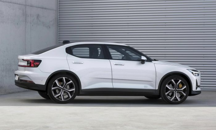 This undated photo made available by Polestar shows the Polestar 2 electric car in Spain. (Polestar via AP)