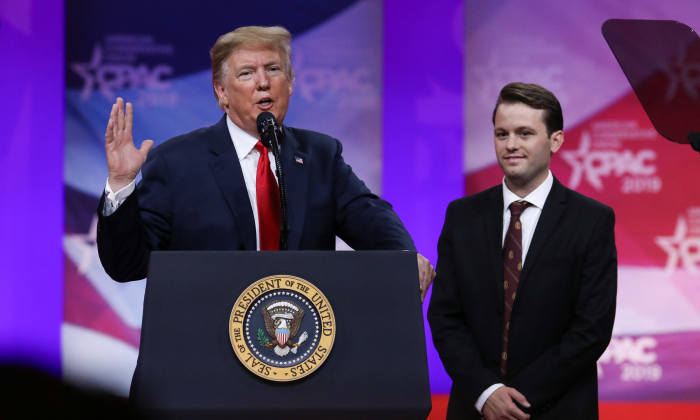 President Donald Trump and Hayden Williams at the CPAC convention in Oxon Hill, Md., on March 2, 2019. (Samira Bouaou/The Epoch Times)