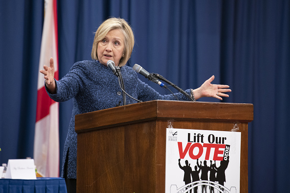 Hillary Clinton, former secretary of state, speaks during the Martin and Coretta King Unity Breakfast in Selma, Alabama, on March 3, 2019. (Nicole Craine/Bloomberg via Getty Images)