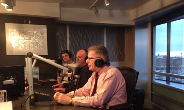 "Dr. Steven Rosenberg speaking on the ""Preston & Steve"" morning radio show during the Great American Smokeout in Philadelphia, Pennsylvania 2014. (Courtesy of Dr. Steven Rosenberg)"