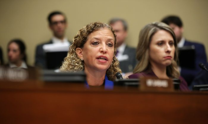 U.S. Rep. Debbie Wasserman Schultz (D-FL) speaks during testimony by Michael Cohen, former attorney and fixer for President Donald Trump, before the House Oversight Committee on Capitol Hill February 27, 2019 in Washington, DC.  Chip Somodevilla/Getty Images