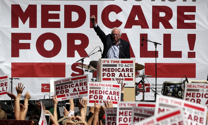 U.S. Sen. Bernie Sanders (I-VT) speaks during a health care rally at the  2017 Convention of the California Nurses Association/National Nurses Organizing Committee on September 22, 2017 in San Francisco, California. Justin Sullivan/Getty Images