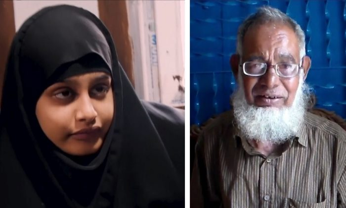L: Shamima Begum being interviewed by Sky News in northern Syria on Feb. 17, 2019. R: Begum's father Ahmed Ali speaking to reporters in Sunamganu, Bangladesh, on March 5, 2019. (Reuters; AP Photo)