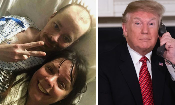 (L): Bridgette Hoskie, her brother Jay Barrett and herself pose for the photo inside an ICU at Yale New Haven Hospital in New Haven, Conn., on Feb. 26, 2019., and President Donald Trump. (Bridgette Hoskie via AP—Saul Loeb/AFP/Getty Images)