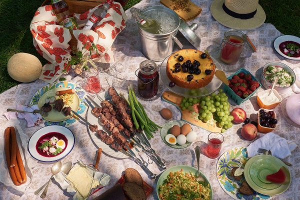 "A Russian picnic spread, from chef and restauranteur Sasha Shor. ""The Jewish foods we prepared [were] really our only connection to Judais—even unknowingly,"" she told the Jewish Food Society. (Dave Katz for the Jewish Food Society)"