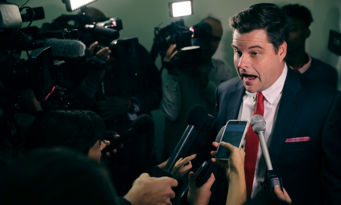 House Judiciary Committee member Rep. Matt Gaetz (R-FL) talks with reporters before heading into a closed-door hearing in the Rayburn House Office Building on Capitol Hill October 19, 2018 in Washington, DC. (Chip Somodevilla/Getty Images)