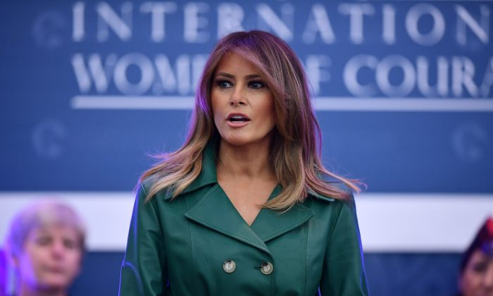 First lady Melania Trump speaks during the 2019 International Women of Courage awards ceremony at the US State Department in Washington on March 7, 2019. (MANDEL NGAN/AFP/Getty Images)