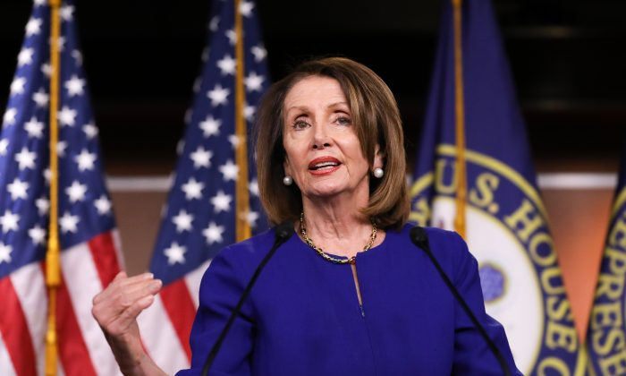 House Speaker Rep. Nancy Pelosi (D-Calif.) holds a press conference in the Capitol building, Washington, on March 7, 2019. (Charlotte Cuthbertson/The Epoch Times)