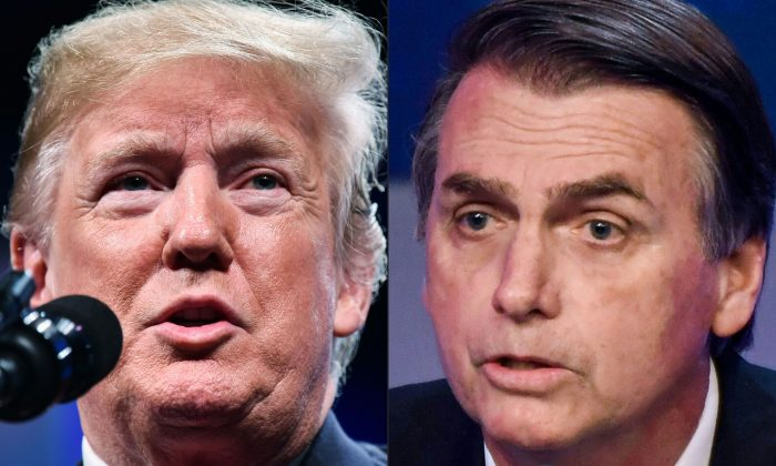 (L): US President Donald Trump during the International Association of Chiefs of Police (IACP) annual convention at the Orange County Convention Center in Orlando, Fla., on Oct. 8, 2018; Brazilian presidential candidate Jair Bolsonaro (PSL) during the first presidential debate ahead of the October 7 general election, at Bandeirantes television network in Sao Paulo, Brazil, on Aug. 9, 2018. (Mandel Ngan and Nelson Almeida/AFP/Getty Images)