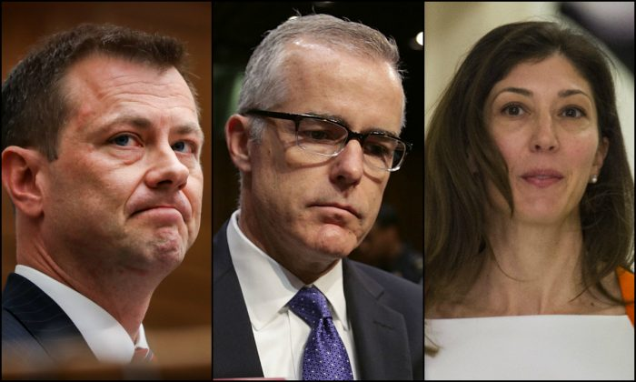 (L-R) FBI agent Peter Strzok, Deputy FBI Director Andrew McCabe, FBI lawyer Lisa Page. (Getty Images/Epoch Times)