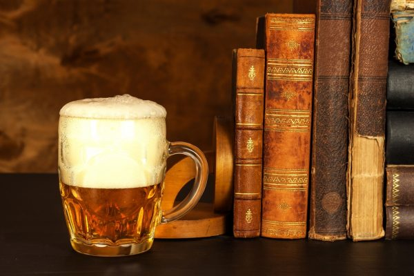 Beer with ancient books